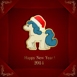 Horse on red background. Red New Years background with little horse, illustration Stock Photo