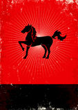 Horse. Red and black poster with horse Royalty Free Illustration