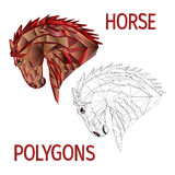 Horse red head polygons coloured and outline vector Stock Image