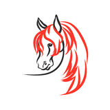 Horse with red mane. On a white background. The figure`s head stallion of the lines. Vector abstract illustration Royalty Free Stock Photos