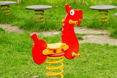 Horse. Red horse, outdoor toy - playground equipment Stock Image