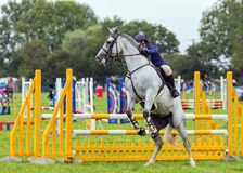 Horse refusing to jump, Hanbury Countryside Show, England. A grey horse ridden by a female competitor refusing to jump during an equestrian event at the Hanbury Royalty Free Stock Image
