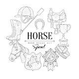 Horse Related  Vintage Sketch Stock Images