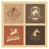 Horse ride club vintage emblem set Stock Images