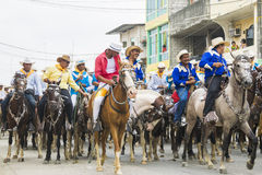 Horse ride of the montubio in Salitre, Ecuador Royalty Free Stock Photos