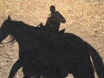 Horse ride shadow. Shadow of a man riding a horse under the sun Stock Photography