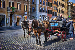 Horse ride at Spanish steps, Rome Stock Photos