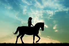 Horse ride at sunset Royalty Free Stock Images