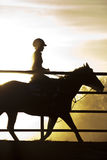 Horse and Rider. A horse and rider in silhouette behind a fence Royalty Free Stock Photography