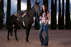 The horse and rider. Beautiful woman with male horse or stallion standing in a paddock royalty free stock photo