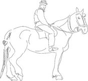 Horse & rider. Hand drawn horse and rider Stock Photography