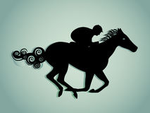 Horse and Rider. In full gallop and run Stock Images