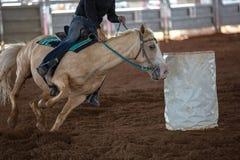 Horse And Rider Barrel Racing At A Rodeo Royalty Free Stock Photo