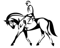 Horse rider black and white vector design Royalty Free Stock Photos