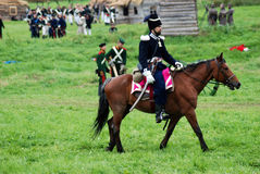 Horse rider at Borodino battle historical reenactment in Russia Royalty Free Stock Photo