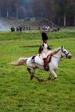 Horse rider at Borodino battle historical reenactment in Russia Stock Photos