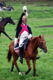 Horse rider at Borodino battle historical reenactment in Russia Stock Photo