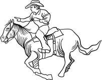 Horse rider. Brush stroke line art horse rider image Stock Photography