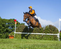Horse rider competing in Cross Country Event. Horse rider competing in Cross Country and Showjumping Trials event at Kirkley Hall, Northumberland, England, UK royalty free stock photo