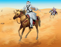 Horse rider on desert in  format  Royalty Free Stock Images