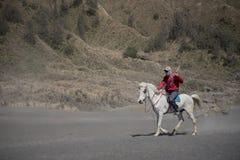 Horse rider on desert near Bromo Mountain Java ,Indonesia Stock Photo