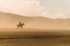 Horse rider desert sand storm Royalty Free Stock Photography