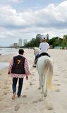 Horse Rider on Hua Hin Beach Royalty Free Stock Image