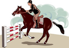Horse and rider during a jumping. Competition hurdles Royalty Free Stock Photography