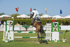 Horse and rider jumping in equestrian competition Stock Photo