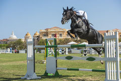 Horse and rider jumping in equestrian competition Royalty Free Stock Photo