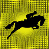 Horse and rider jumping with gold background Royalty Free Stock Photos