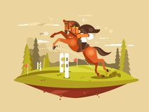 Horse and rider jumping hurdles Royalty Free Stock Photo