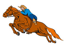 Horse and rider jumping white. Vector art of a cowboy and his horse jumping stock illustration