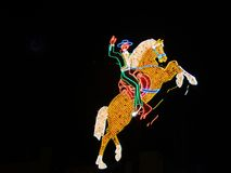 Horse and Rider, neon sign. Stock Photos