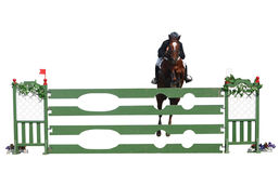 Horse and Rider over a Jump Stock Photos