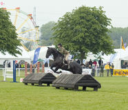 Horse and rider over obstacle Stock Photos