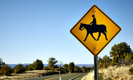 Horse and rider Road Crossing Sign Stock Image