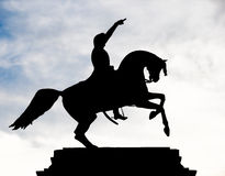 Horse and Rider Silhouette. Silhouette of Jose de San Martin's monument. He was an Argentine general and the prime leader of the southern part of South America's Royalty Free Stock Image