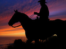 Horse and Rider Silhouette Sunset Stock Image