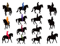 Horse rider silhouettes collection. Horse rider vector silhouettes set. Rider in color, horse black. Another set are riders plus horse as united object in black Royalty Free Stock Photo