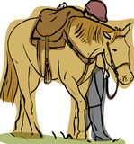Horse and rider. Simple stylised artwork of saddled horse with hidden rider walking alongside Royalty Free Stock Images