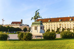 Horse and rider statue of archduke Karl in vienna Royalty Free Stock Photography