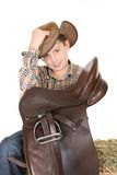 Horse rider tips his hat Royalty Free Stock Images