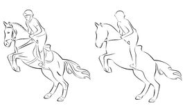 Horse rider, vector illustration. Black and white silhouette , rider on horse, white background , isolated sketch set Royalty Free Stock Image
