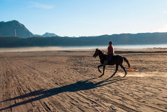 Horse rider at volcanic plateau of mount Bromo, Indonesia Stock Photos