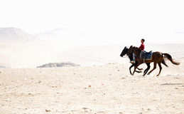 Horse Riders Around the Pyramids Royalty Free Stock Photo