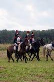 Horse riders at Borodino battle historical reenactment in Russia Stock Photos