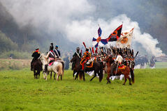 Horse riders at Borodino battle historical reenactment in Russia Stock Photography
