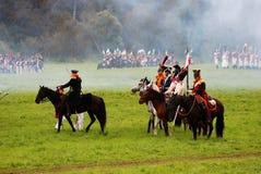 Horse riders at Borodino battle historical reenactment in Russia Stock Image