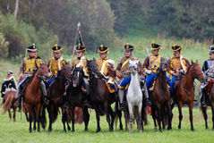 Horse riders at Borodino battle historical reenactment in Russia Royalty Free Stock Images